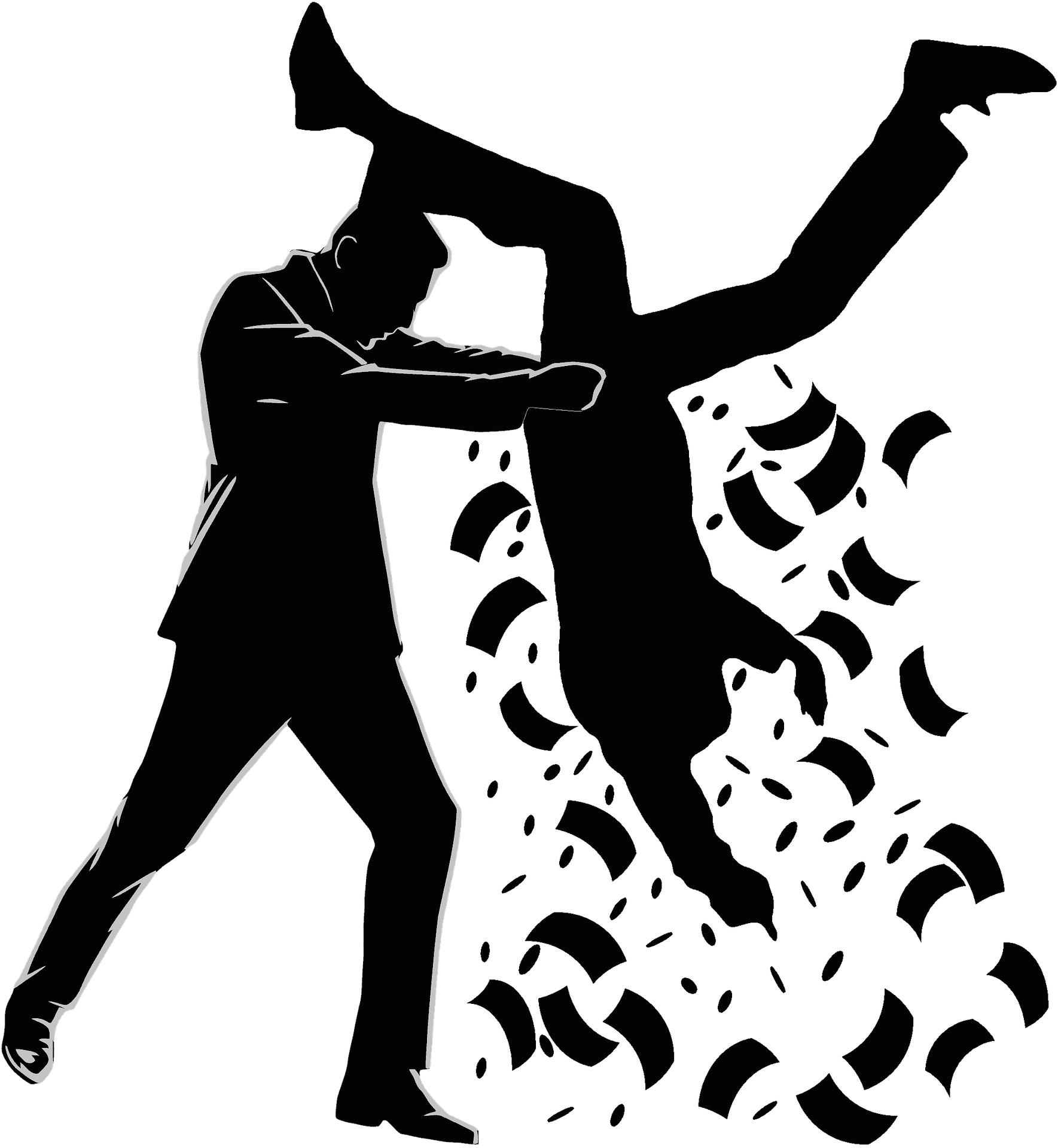 Cartoon silhouette of a business man holding another man upside down and shaking the money out of his pockets, representing the harassment of debt collectors.